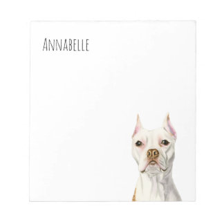 """Proud and Tall"" White Pit Bull Dog Portrait Notepad"