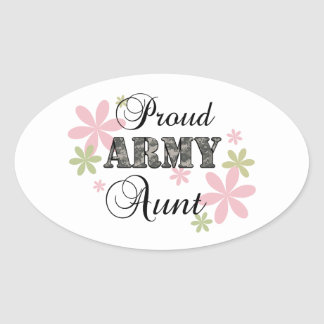 Proud Army Aunt [fl c] Oval Stickers