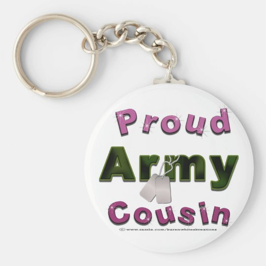 Proud Army Cousin Pink Keychain