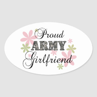 Proud Army Girlfriend [fl c] Oval Sticker