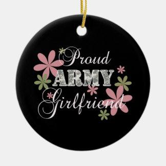 Proud Army Girlfriend [fl c] Round Ceramic Decoration