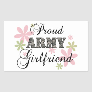 Proud Army Girlfriend [fl c] Rectangular Stickers