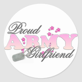 Proud Army Girlfriend(pink) Round Sticker