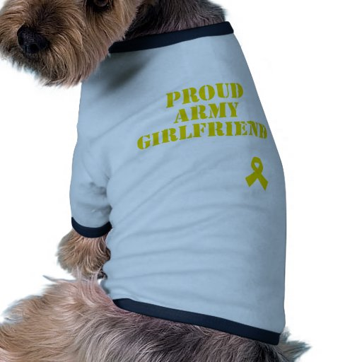 Proud Army Girlfriend with Ribbon Doggie Tee
