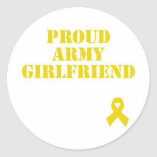 Proud Army Girlfriend with Ribbon Round Sticker