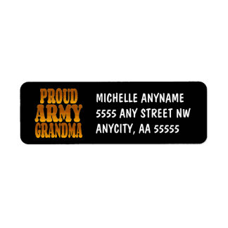 Proud Army Grandma in Gold Return Address Label