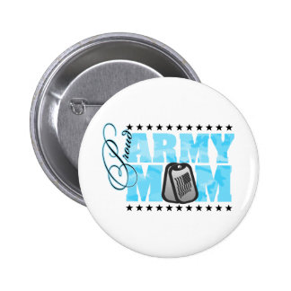 Proud Army Mom Blue Camo Pinback Buttons