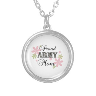 Proud Army Mom [fl c] Silver Plated Necklace