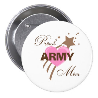 Proud Army Mom Heart Buttons