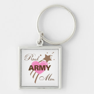 Proud Army Mom Heart Silver-Colored Square Key Ring