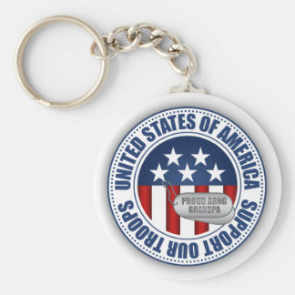 Proud Army National Guard Grandpa Basic Round Button Key Ring