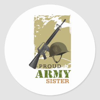 Proud Army Sister Round Sticker