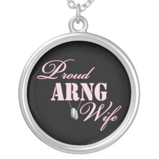 Proud ARNG Wife Round Pendant Necklace