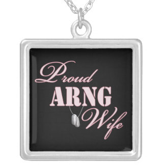 Proud ARNG Wife Square Pendant Necklace