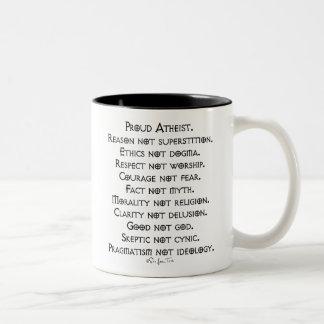 Proud Atheist Two-Tone Coffee Mug
