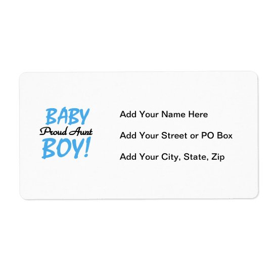 Proud Aunt Baby Boy T-shirts and Gifts Shipping Label