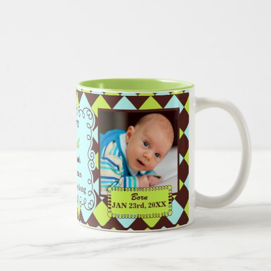 Proud Aunt Green and Brown Arglye Baby Photos Two-Tone Coffee Mug