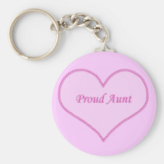 Proud Aunt Keychain, Pink Key Ring