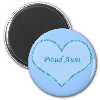 Proud Aunt Magnet, Blue 6 Cm Round Magnet