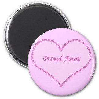 Proud Aunt Magnet, Pink 6 Cm Round Magnet