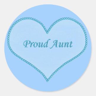 Proud Aunt Stickers, Blue Round Sticker