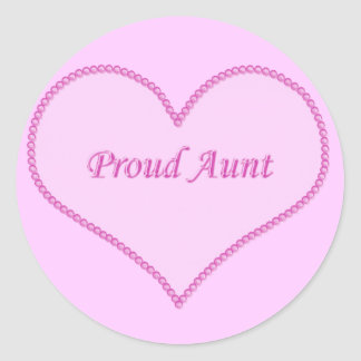 Proud Aunt Stickers, Pink