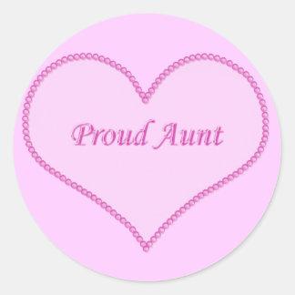 Proud Aunt Stickers, Pink Round Sticker