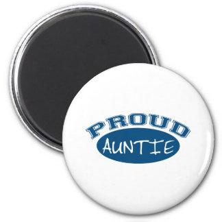 Proud Auntie (Blue) 6 Cm Round Magnet