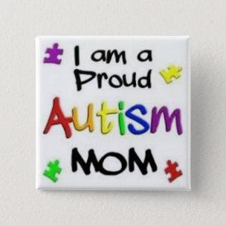 Proud Autism Mom 15 Cm Square Badge