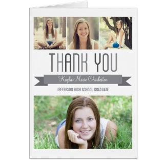 Proud Banner Graduation Thank You Card - Gray