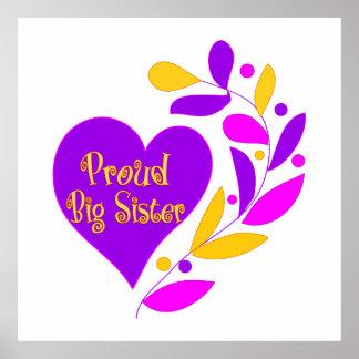 Proud Big Sister Heart Poster