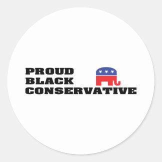 Proud Black Conservative Round Sticker