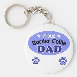 Proud border collie Dad Key Ring