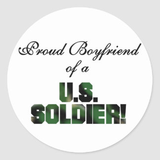 Proud Boyfriend of a US Soldier Tshirts and Gifts Round Stickers