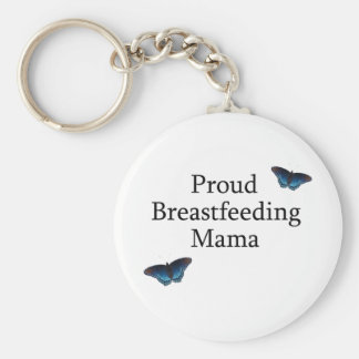 Proud Breastfeeding Mama Blue Butterflies Key Ring