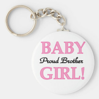 Proud Brother of Baby Girl tshirts and gifts Basic Round Button Key Ring
