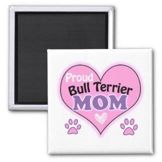 Proud bull terrier mom square magnet