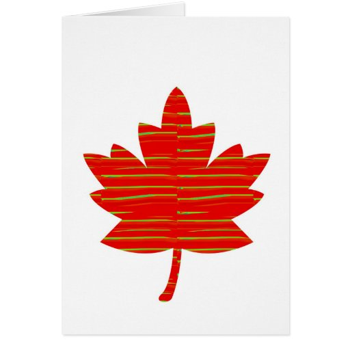 Proud Canadian MAPLE LEAF :ENERGETIC  Red on Silk Greeting Card