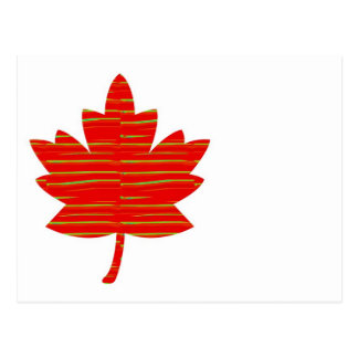Proud Canadian MAPLE LEAF :ENERGETIC  Red on Silk Postcard