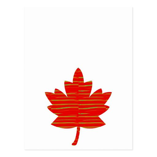 Proud Canadian MAPLE LEAF :ENERGETIC  Red on Silk Postcards