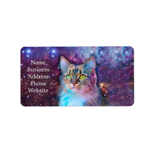 Proud Cat With Space Background Address Label