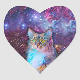 Proud Cat With Space Background Heart Sticker
