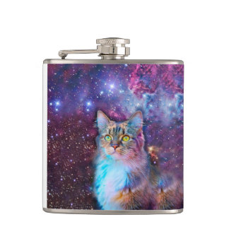 Proud Cat With Space Background Hip Flask