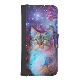 Proud Cat With Space Background iPhone SE/5/5s Wallet Case