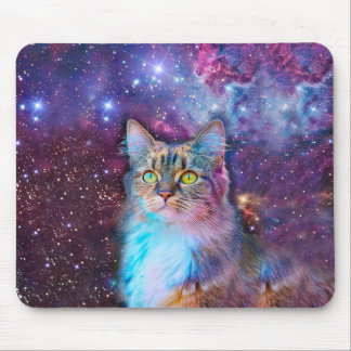 Proud Cat With Space Background Mouse Pad