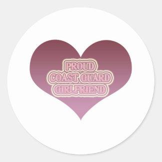 Proud Coast Guard Girlfriend Round Stickers