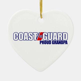 Proud Coast Guard Grandpa Ceramic Heart Decoration