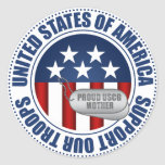 Proud Coast Guard Mother Round Stickers