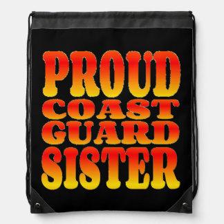 Proud Coast Guard Sister in Cheerful Colors Drawstring Bag