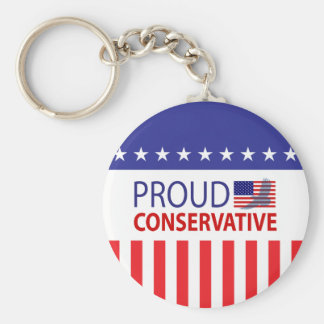 Proud Conservative Basic Round Button Key Ring